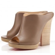 Replica Christian Louboutin Roche Mule Peep Toe Pumps Oyster Cheap Fake Shoes