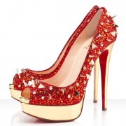 Replica Christian Louboutin Very Mix 140mm Peep Toe Pumps Red Cheap Fake Shoes