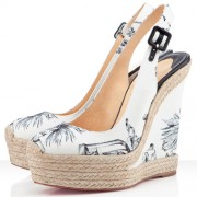 Replica Christian Louboutin Everesta 140mm Wedges White Cheap Fake Shoes