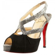 Replica Christian Louboutin Angela 120mm Slingbacks Black Cheap Fake Shoes
