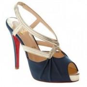 Replica Christian Louboutin Angela 120mm Slingbacks Blue Cheap Fake Shoes