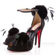 Replica Christian Louboutin Pluminette 120mm Sandals Black Cheap Fake Shoes