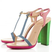 Replica Christian Louboutin Sylvieta 120mm Sandals Green/Gold Cheap Fake Shoes