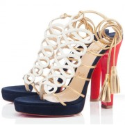 Replica Christian Louboutin Salsbourg 120mm Sandals White Cheap Fake Shoes