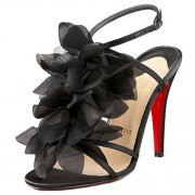 Replica Christian Louboutin Petal 70mm Sandals Black Cheap Fake Shoes