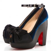 Replica Christian Louboutin Minimi 140mm Peep Toe Pumps Blue Cheap Fake Shoes