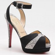 Replica Christian Louboutin Double Moc 120mm Sandals Black Cheap Fake Shoes