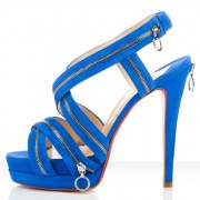Replica Christian Louboutin Trailer 140mm Sandals Blue Cheap Fake Shoes