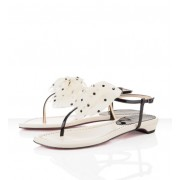 Replica Christian Louboutin Vaudou Flat Sandals Ivory Cheap Fake Shoes