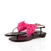 Replica Christian Louboutin Vaudou Flat Sandals Black/Pink Cheap Fake Shoes