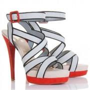 Replica Christian Louboutin Straratata 120mm Sandals Grey Cheap Fake Shoes