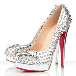 Replica Christian Louboutin Bianca Spikes 140mm Platforms Silver Cheap Fake Shoes