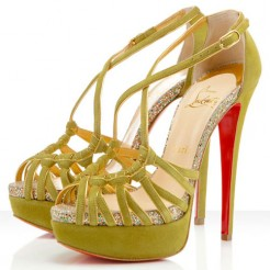 Replica Christian Louboutin Mignons 140mm Sandals Chartreuse Cheap Fake Shoes