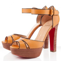 Replica Christian Louboutin Woodaola 120mm Sandals Orange Cheap Fake Shoes
