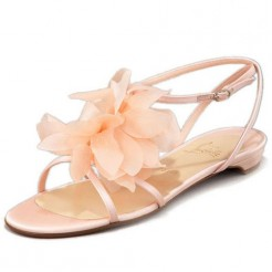 Replica Christian Louboutin Petal Crepe Sandals Pink Cheap Fake Shoes