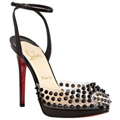 Replica Christian Louboutin Jeannette SPiked 120mm Sandals Black Cheap Fake Shoes