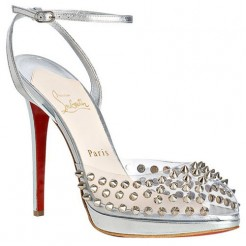 Replica Christian Louboutin Jeannette SPiked 120mm Sandals Silver Cheap Fake Shoes