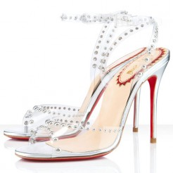 Replica Christian Louboutin Icone A Clous 100mm Sandals Silver Cheap Fake Shoes