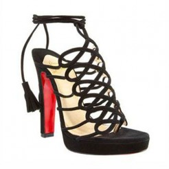 Replica Christian Louboutin Tasseled 120mm Sandals Black Cheap Fake Shoes