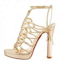 Replica Christian Louboutin Tasseled 120mm Sandals Gold Cheap Fake Shoes
