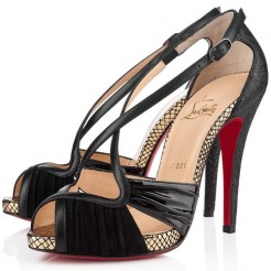 Replica Christian Louboutin Divinoche 120mm Sandals Black Cheap Fake Shoes
