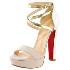 Replica Christian Louboutin Summerissima 140mm Sandals Gold Cheap Fake Shoes