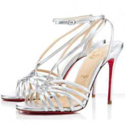 Replica Christian Louboutin Beverly 100mm Sandals Silver Cheap Fake Shoes
