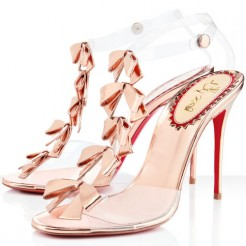 Replica Christian Louboutin Bow Bow 100mm Sandals Pink Cheap Fake Shoes