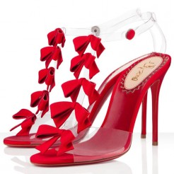 Replica Christian Louboutin Bow Bow 100mm Sandals Red Cheap Fake Shoes