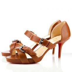 Replica Christian Louboutin Atalanta 80mm Sandals Cognac Cheap Fake Shoes