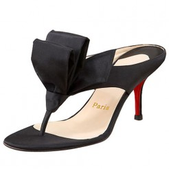 Replica Christian Louboutin Tulp Thong 80mm Sandals Black Cheap Fake Shoes