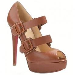 Replica Christian Louboutin Bikiki 140mm Mary Jane Pumps Brown Cheap Fake Shoes