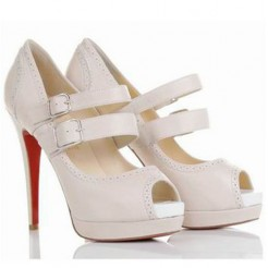 Replica Christian Louboutin Luly 140mm Mary Jane Pumps White Cheap Fake Shoes