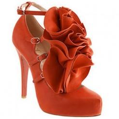 Replica Christian Louboutin Dillian 120mm Mary Jane Pumps Orange Cheap Fake Shoes