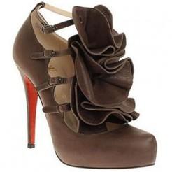 Replica Christian Louboutin Dillian 120mm Mary Jane Pumps Brown Cheap Fake Shoes