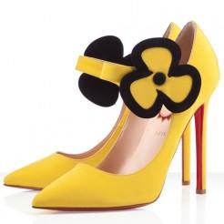 Replica Christian Louboutin Pensee 120mm Mary Jane Pumps Canari Cheap Fake Shoes