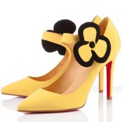 Replica Christian Louboutin Pensee 100mm Mary Jane Pumps Canari Cheap Fake Shoes