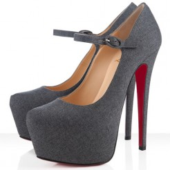 Replica Christian Louboutin Lady Daf 160mm Mary Jane Pumps Light Grey Cheap Fake Shoes