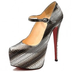 Replica Christian Louboutin Lady Daf 160mm Mary Jane Pumps Grey Cheap Fake Shoes