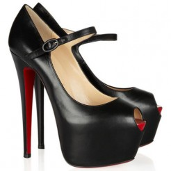 Replica Christian Louboutin Lady Highness 160mm Mary Jane Pumps Black Cheap Fake Shoes