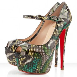 Replica Christian Louboutin Lady Highness 160mm Mary Jane Pumps Green Cheap Fake Shoes