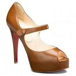 Replica Christian Louboutin No Barre 140mm Mary Jane Pumps Brown Cheap Fake Shoes
