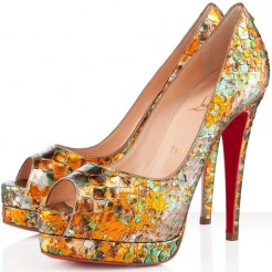 Replica Christian Louboutin Altadama 140mm Peep Toe Pumps Multicolor Cheap Fake Shoes