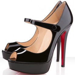 Replica Christian Louboutin Bana 140mm Peep Toe Pumps Black Cheap Fake Shoes