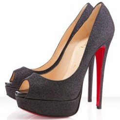 Replica Christian Louboutin Lady Peep Spikes 140mm Peep Toe Pumps Black Cheap Fake Shoes
