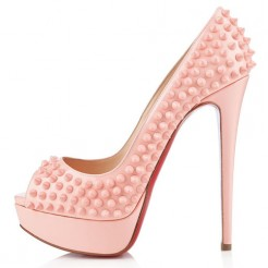 Replica Christian Louboutin Lady Peep Spikes 140mm Peep Toe Pumps Baby Pink Cheap Fake Shoes