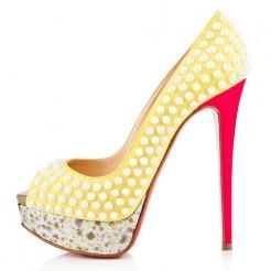 Replica Christian Louboutin Lady Peep Spikes 140mm Peep Toe Pumps Canari Cheap Fake Shoes