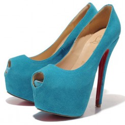Replica Christian Louboutin Highness 160mm Peep Toe Pumps Caraibes Cheap Fake Shoes