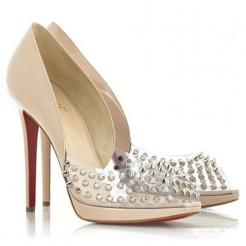 Replica Christian Louboutin Engin 120mm Peep Toe Pumps Nude Cheap Fake Shoes
