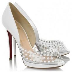 Replica Christian Louboutin Engin 120mm Peep Toe Pumps White Cheap Fake Shoes